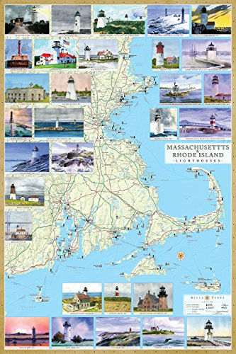e Island Lighthouses Illustrated Map & Guide Laminated poster ()