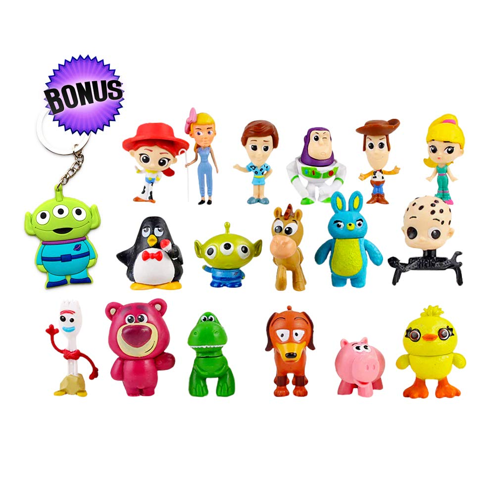 Toy Story Action Figures - Set of 17 Mini Figurines for Kids - Collectible Toy Store Cake Toppers - Great Party Favors for Toddlers - Action Figure Set with Keychain - Toy Story Birthday Supplies by Pantysha