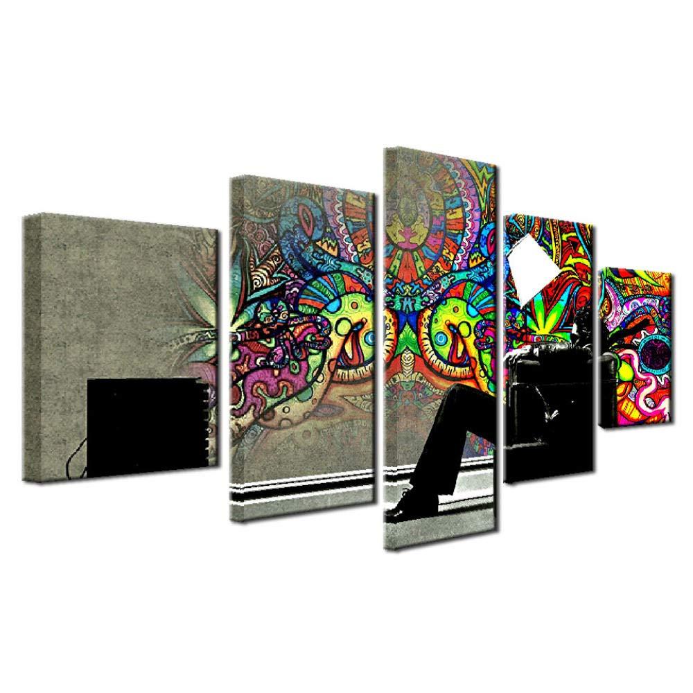 en linea Celi Canvas prints prints prints Cuadro sobre Lienzo 5 Piezas Arte Grafiti 100X50Cm Impresiones Modernas En Lienzo Imagen Abstracta para El Dormitorio Oficina Hogar,Marco  punto de venta