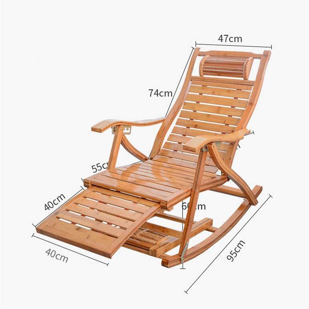 XEWNEG vikbar bambu fåtölj, 5 fack ställbara gungstolar, hus gammal man rygg paus stol, sommarsport balkong soluppgång, med wattplattor (färg: C) b