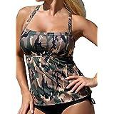 Sumtory Women Two Pieces Tankini Camouflage Backless Bandage Swimsuit Bathwear
