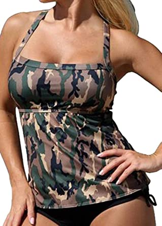 Sumtory Women Two Pieces Tankini Camouflage Backless Bandage Swimsuit Bathwear