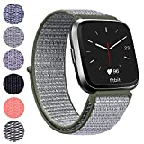 Vancle for Fitbit Versa Band, Woven Nylon Wristband with Adjustable Velcro Connector Sport