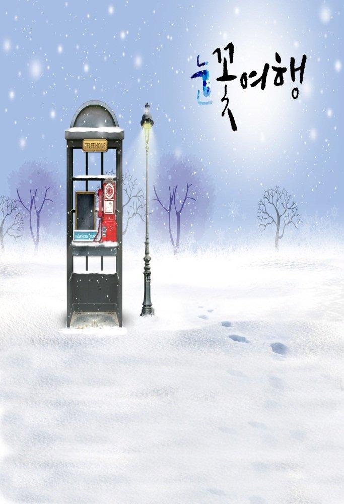 AOFOTO 写真撮影用背景幕 4x6フィート アーティスティックな背景 ドリーミー 冬の風景 雪 地面 屋外 電話 ブース ロードランプ 雪の結晶 写真 スタジオ小道具 ビニール 壁紙 女の子 ポートレート   B07BP7621R