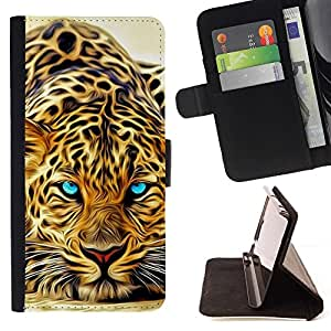 For Sony Xperia m55w Z3 Compact Mini Leopard Tattoo Africa Cat Animal Nature Beautiful Print Wallet Leather Case Cover With Credit Card Slots And Stand Function