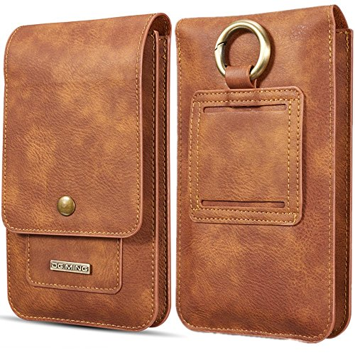 TechCode iPhone 8 Plus Case, iPhone 5.5 inch Case, PU Leather Holster with Swivel Belt Clip Cards Slot Fit for All 5.5 Inch Samsung Galaxy and iPhone and Android Phone (Light Brown) by TechCode