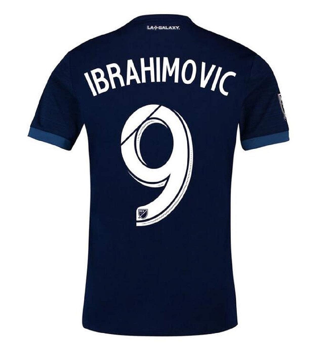 S-XL trfgy Mens Los Angeles Galaxy #9 Ibrahimović Away Jerseys 18//19 Soccer Jersey Blue