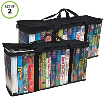 Amazon Evelots VHS Storage Bag Movie Organizer Video Tape Handles Hold 30 No Dust Set 2 Home Audio Theater