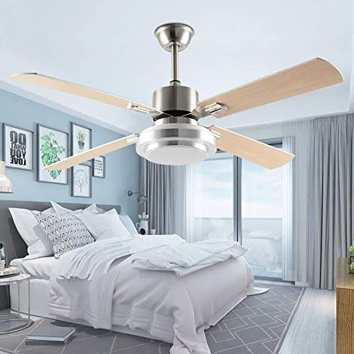 52 Modern Ceiling Fan With LED Light and Remote Control 4 Wood Reversible Blades Quiet For Indoor Living Room Bedroom