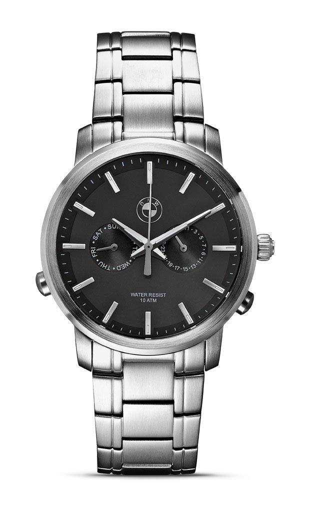 Original BMW Herren Armbanduhr Uhr Edelstahl mit dunklem Ziffernblatt
