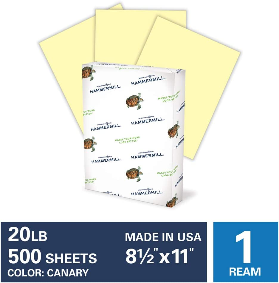 Hammermill Canary Colored 20lb Copy Paper, 8.5x11, 1Ream, 500 Total Sheets, Made in USA, Sustainably Sourced From American Family Tree Farms, Acid Free, Pastel Printer Paper, 103341R : Office Products