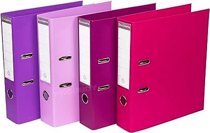 Pack de 4] Archivadores de palanca tamaño A4 de 70 mm para almacenamiento de documentos legales, color morado: Amazon.es: Oficina y papelería