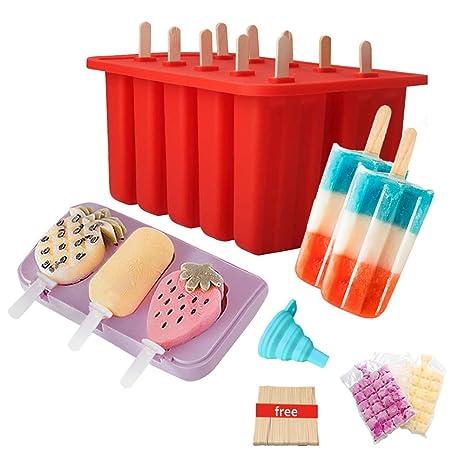 Moldes para paletas de helado sin BPA, 10 cavidades + 3 ...