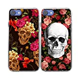 iPhone 7 Case-TTOTT 2x Floral Skull Yellow Red Rose Flower Skull Art Ultra-Slim Anti-Scratch Reinforced Corner Protection Bumper TPU Best Friend Lovers Couple Matching Cover Case for iPhone 7 Case 4.7 inch (2016 New Model)