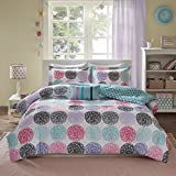 Teal and Purple Comforter Sets Mi Zone Carly Comforter Set Full/Queen Size - Teal, Purple , Doodled Circles Polka Dots – 4 Piece Bed Sets – Ultra Soft Microfiber Teen Bedding For Girls Bedroom