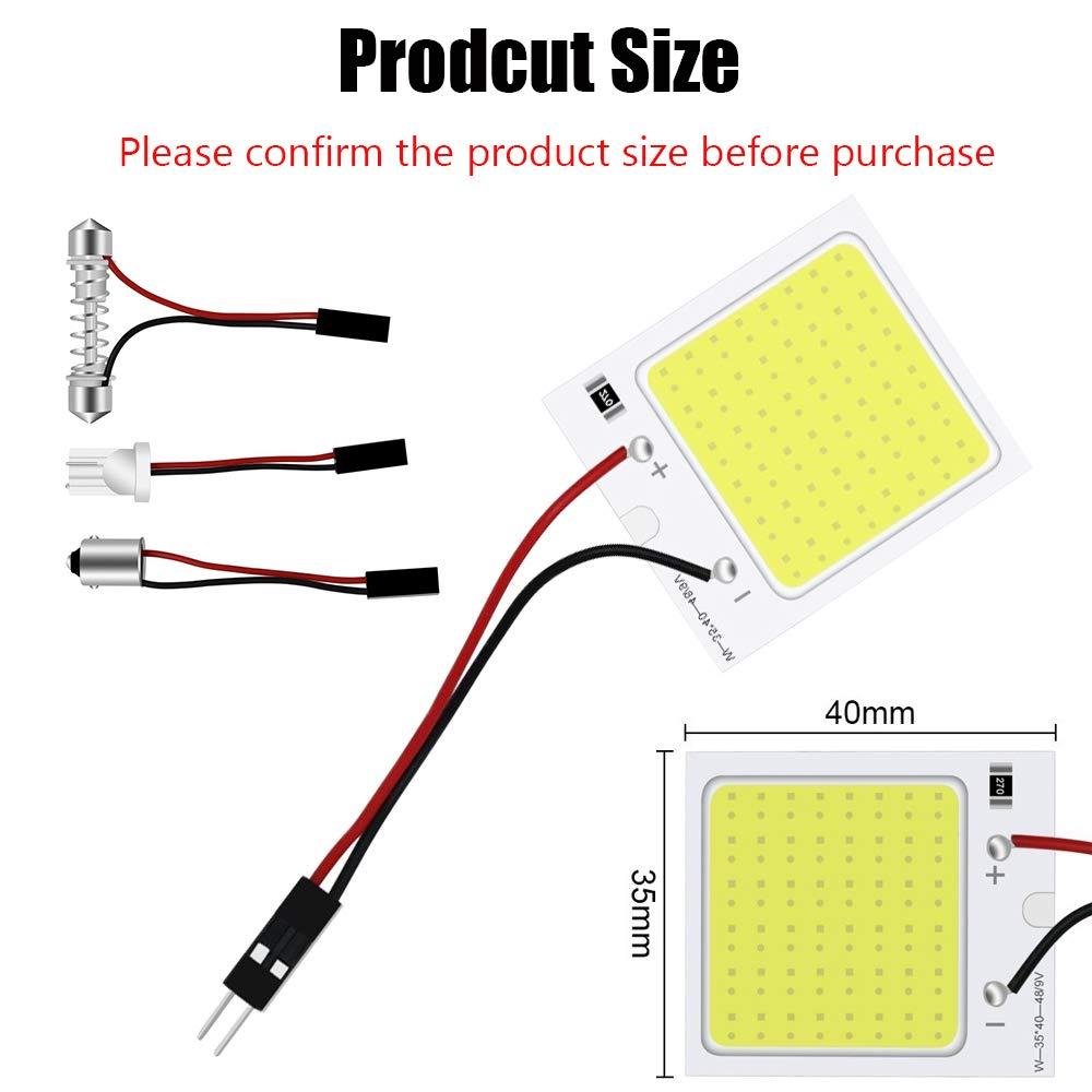 adaptador de fest/ón panel de iluminaci/ón interior Pack de 6 luces LED de 300 l/úmenes con 10 x T10 JAVR mapa para coche l/ámpara de techo muy brillantes BA9S COB 48-SMD 12 V CC