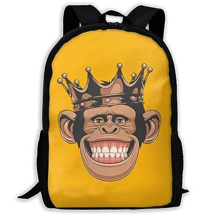 Unisex Lightweight Waterproof Travel Hiking Backpack Funny Monkey Crown  Backpack r n Black 02c8244f8d91f