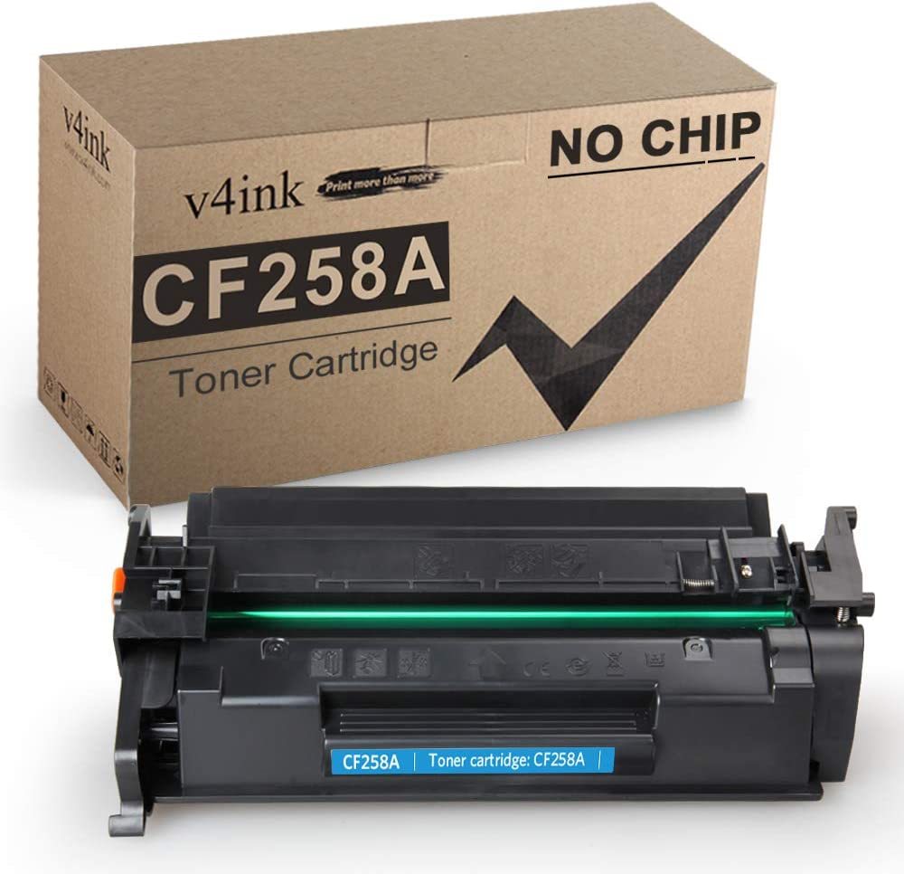 v4ink Compatible Toner Replacement for HP 58A CF258A Toner to use for HP Laserjet Pro M404dn M404n M404dw, Laserjet Pro MFP M428fdw M428fdn M428dw Printer (1 Pack, Without CHIP)