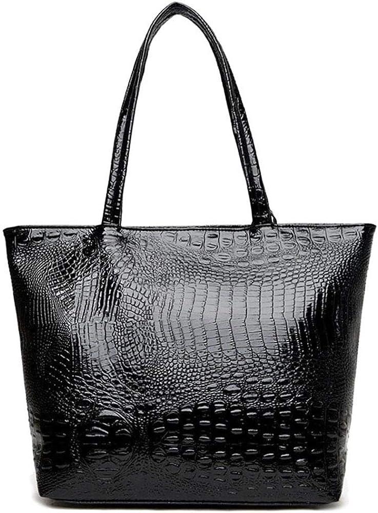 Amazon Com Cyber Sale Monday Deals Womens Crocodile Large Tote Handbag Purse Shoulder Bag Black Shoes