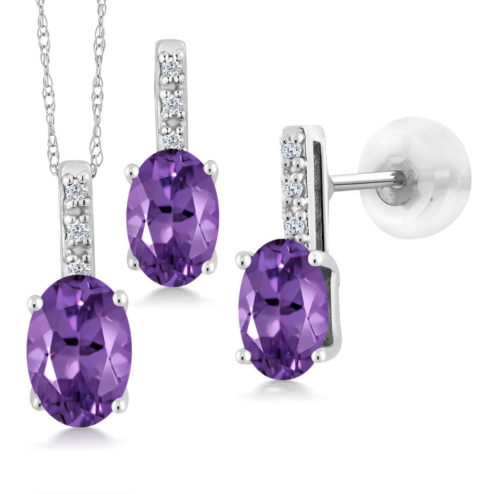 1.52 Ct Oval Purple Amethyst and Diamond White Gold Pendant Earrings Set