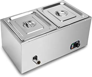 VEVOR 110V 2-Pan Commercial Food Warmer 850W Electric Countertop Steam Table 15cm/6inch Deep Stainless Steel Bain Marie Buffet Food Warmer 11Quart/Pan for Catering and Restaurants