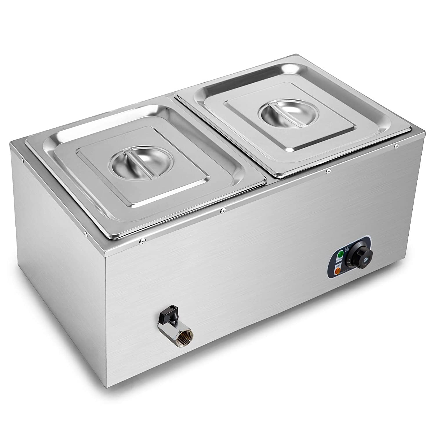 VEVOR 110V 2 Commercial Food Warmer 850W Electric Steam Table 15cm/6inch Deep Stainless Steel Bain Marie 11Quart/Pan for Buffet Catering, Silver