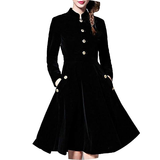 Amazon.com: Vestido de terciopelo negro para mujer de ...