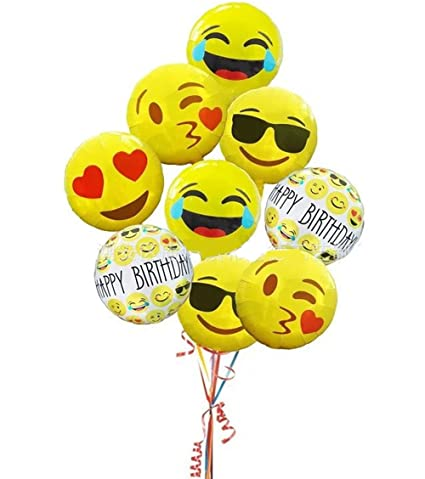 WISWIS Set Of 13 Round Helium Mylar 18quot Emoji Balloons Birthday Party Decoration