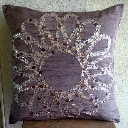 Handmade Purple Pillow Cases, Sequins Flower Medallion