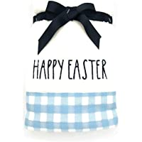 Rae Dunn Spring & Easter Hand Towels, Set of 2 Blue Plaid Happy Easter Embroidered Spring Hand Towel Set for Easter…