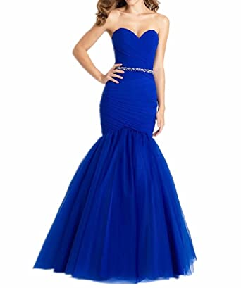 LeoGirl Womens Strapless Tulle Long Mermaid Prom Dresses Sexy Party Formal Gown at Amazon Womens Clothing store: