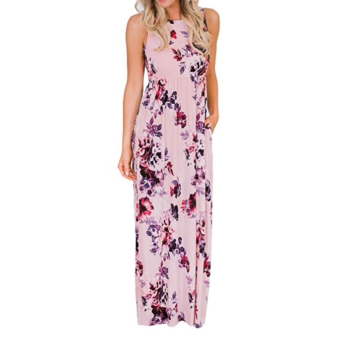 9c1ad24178 Women Dress-Han Shi Summer Print Floor-Length Evening Party Beach Sundress  (Multicolor