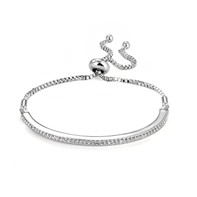 Philip Jones Silver Friendship Bracelet With Crystals From Swarovski