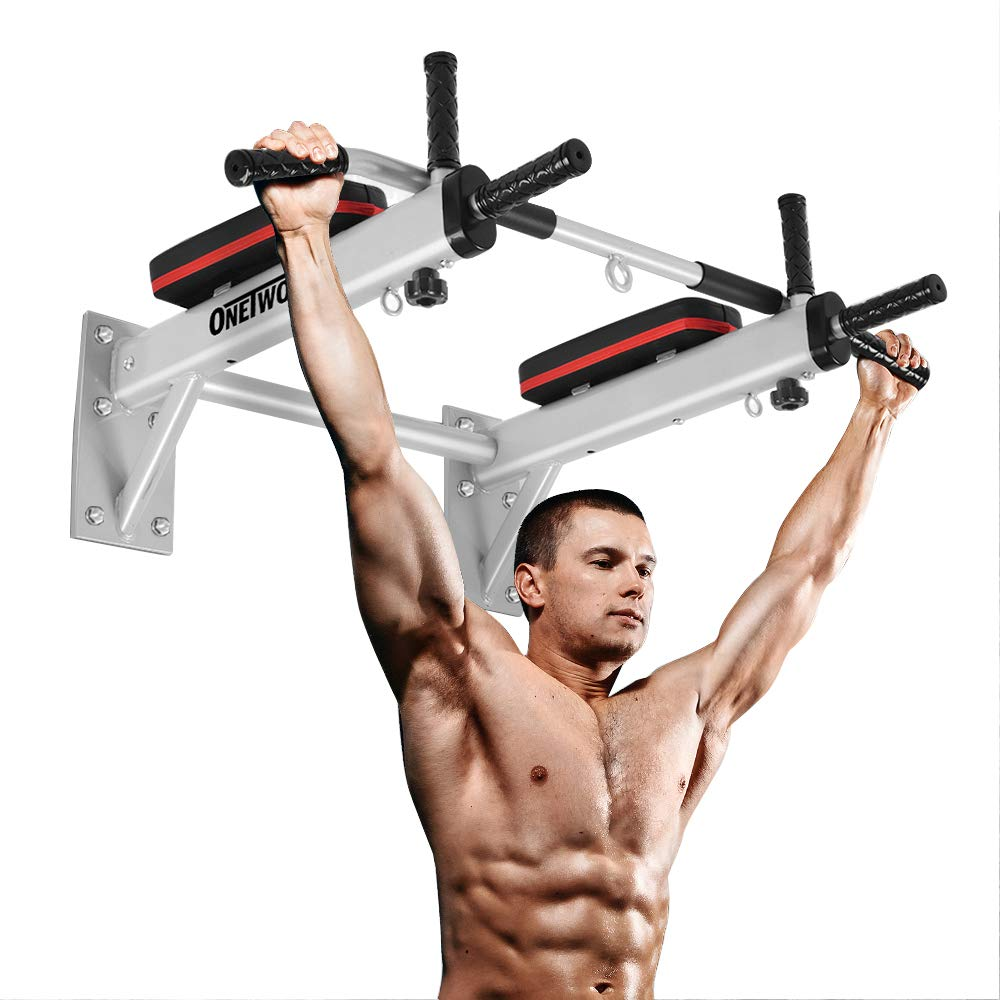 OneTwoFit Wall Mounted Pull Up Bar Chin Up Exercise Bar