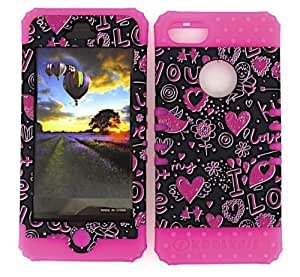 SHOCKPROOF HYBRID CELL PHONE COVER PROTECTOR FACEPLATE HARD CASE AND HOT PINK SKIN WITH STYLUS PEN. KOOL KASE ROCKER FOR APPLE IPHONE 5 5S HEARTS MA-TE371 by runtopwell