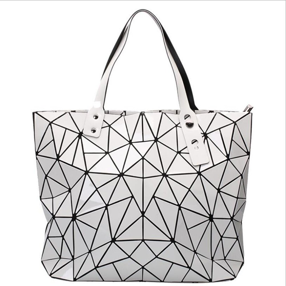 dc00aed2dc3a3 Frauen neue unregelmäßige geometrische Lingge Paket Diamant Laser Bag  Schulter Messenger Handtasche Damen Tasche IKUN-