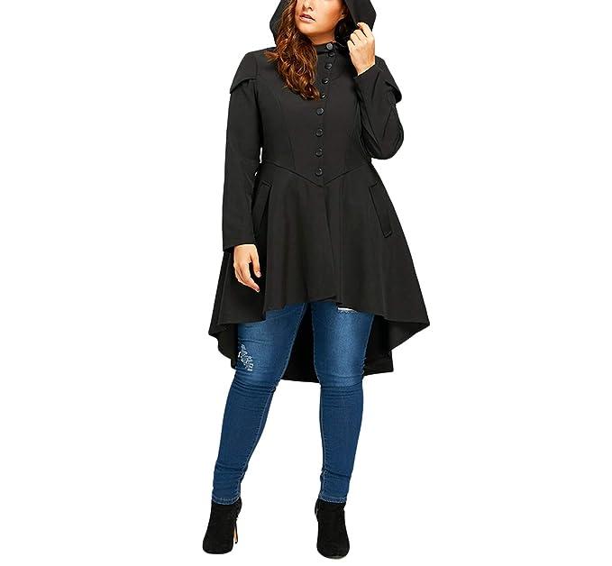 Availcx 2019 Trendy Tallas Grandes con Cordones Escudo Alto con Capucha para Mujer Outwear de Halloween Otoño Mujeres en Capas Gótico Trinchera de Cintura ...