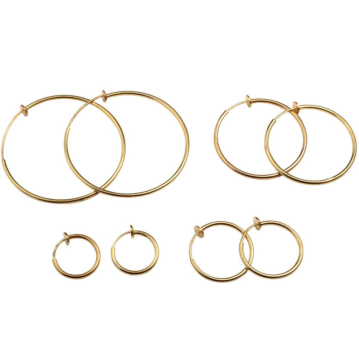 Gold or Silver Spring Hoop Clip-On Earrings Set of 4 - DeluxeAdultCostumes.com