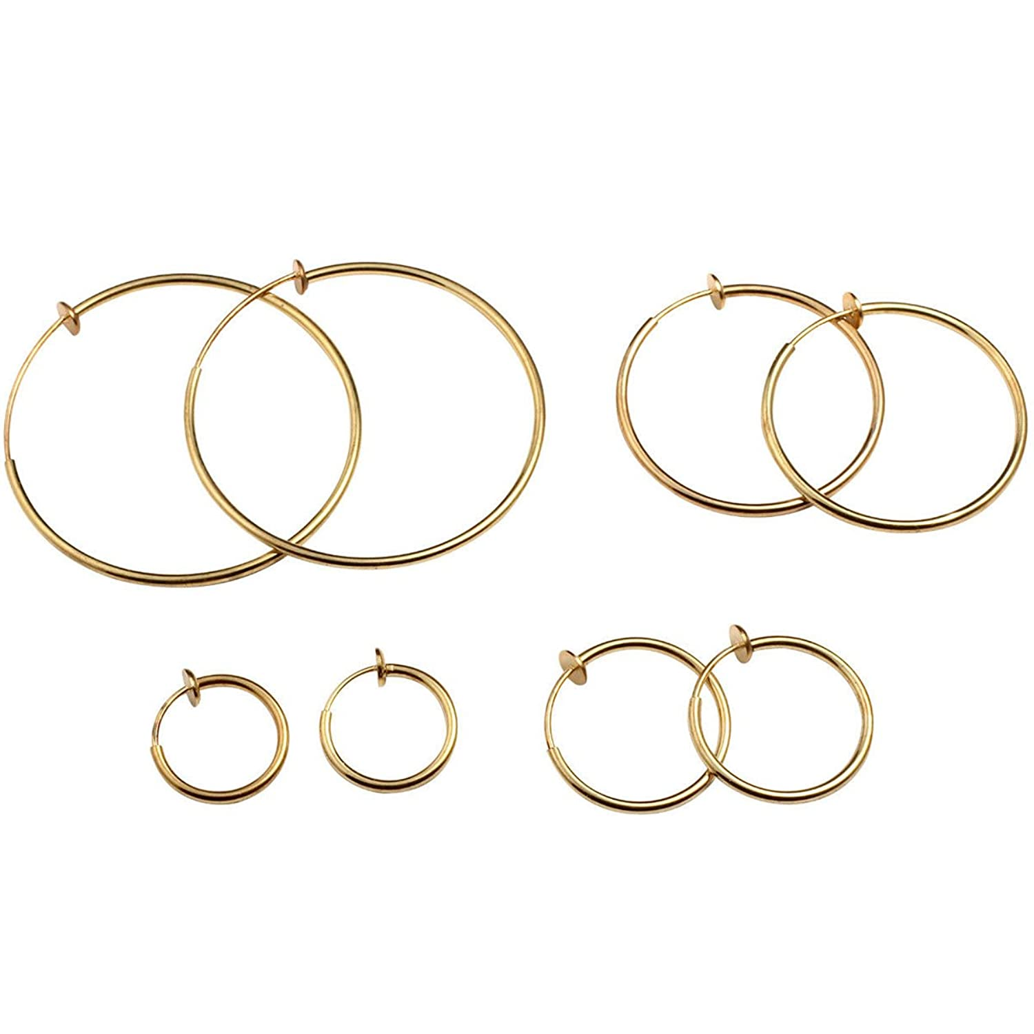 Evelots Set Of 4 Clip On Spring Hoop Earrings Varied Sizes Silver & Gold Toned by Evelots