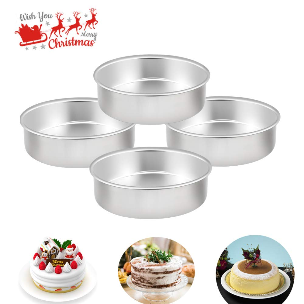 TeamFar 6 Inch Cake Pan, 4 Pcs Round Tier Cake Pans Set Stainless Steel for Baking Steaming Serving, Fit in Oven Instant Pot Air Fryer, Healthy & Heavy Duty, Mirror Finish & Dishwasher Safe