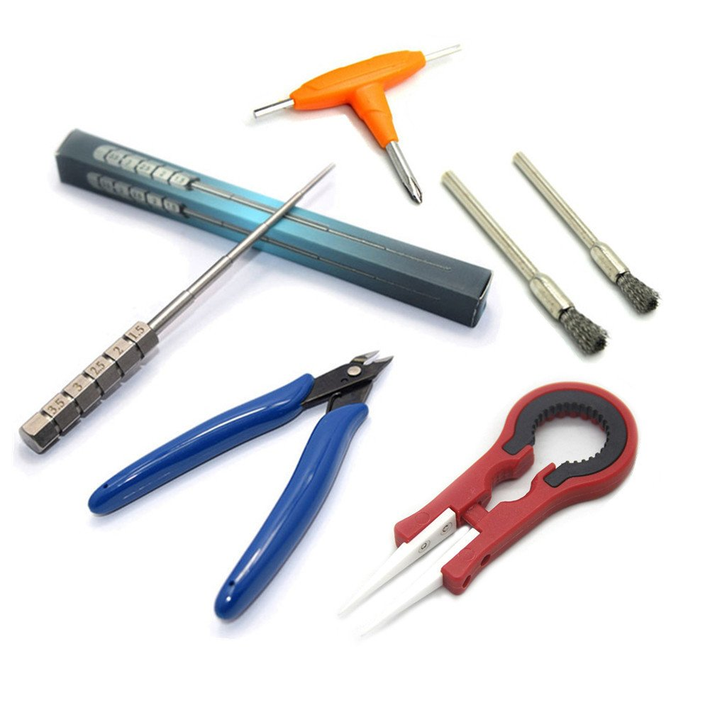 KAHIOE DIY Tool Kit - 3 in 1 Ceramics Tweezers + Scissors Pliers + Wire Jig + T Style Screwdriver + Coil Brush Multi DIY Set