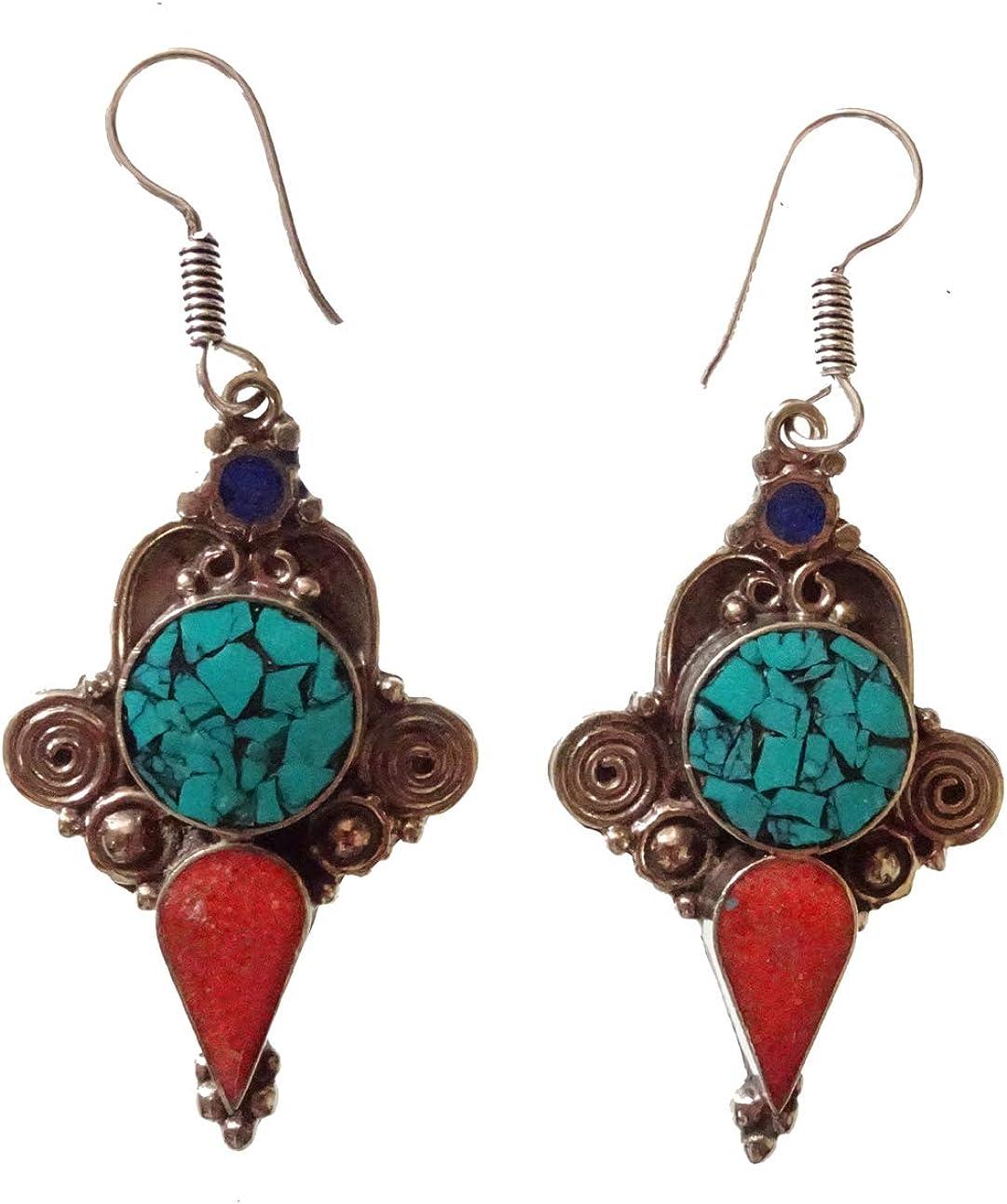 Pendientes para mujer niña hecha a mano de plata tibetana plateada Boho Étnicas piedras preciosas antiguas Turquesa Lapis Coral Vintage multicolor budista Pendientes bohemios joyería de moda