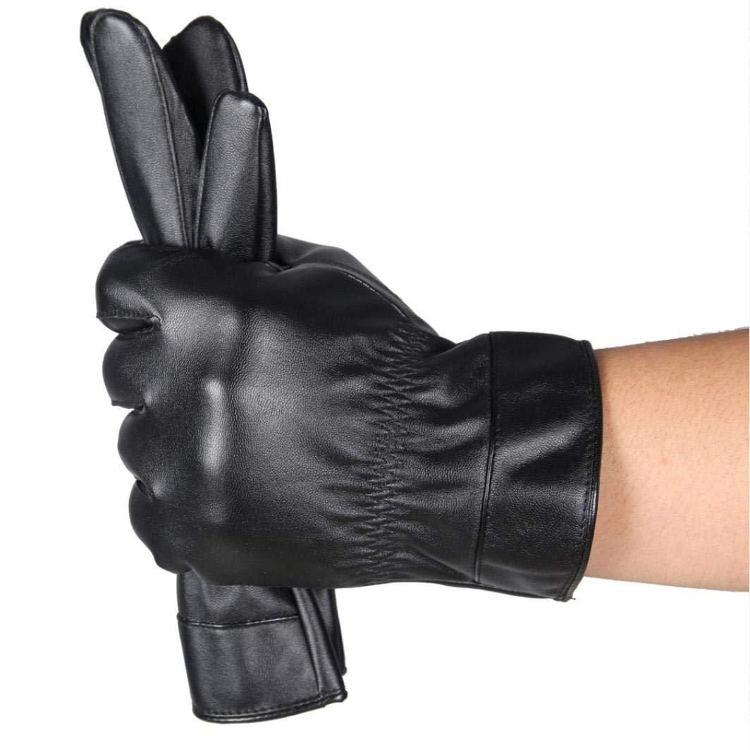 Luxurious Men Leather Gloves Winter Super Driving Warm Gloves Soft Cashmere Mittens Hanican (Black)