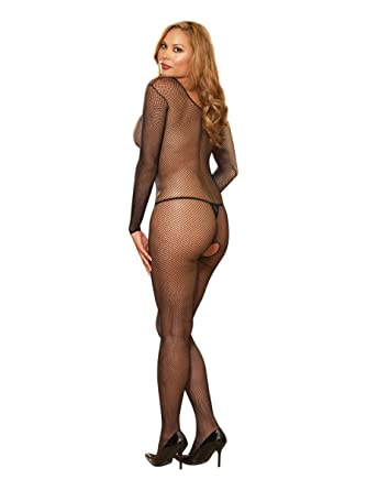 e2384657bb5 Dreamgirl One Size Queen Black Fishnet Open Crotch Bodystocking  Amazon.co. uk  Clothing