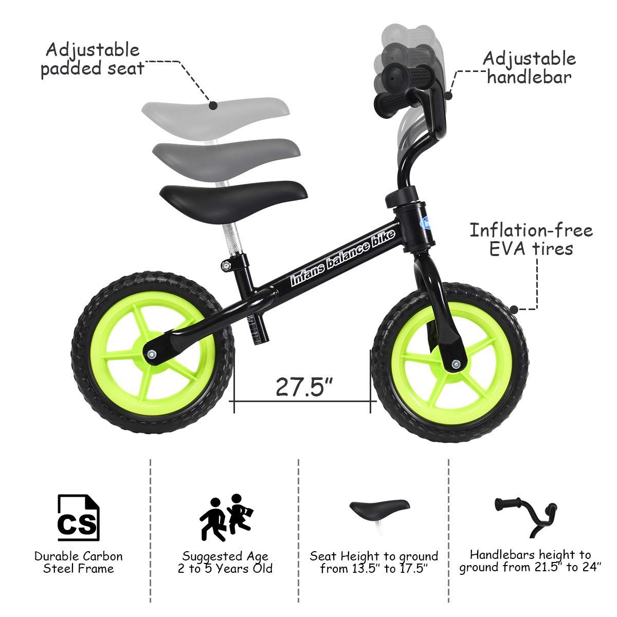 Incredible Infans Lightweight Balance Bike Kids Training Bicycle With Height Adjustable Seat Handlebar Inflation Free Eva Tires No Pedal Pre Walking Bike Squirreltailoven Fun Painted Chair Ideas Images Squirreltailovenorg