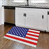 """Water-Repellent Rugs USA Stars and Chevrs Theme Red Blue Patriot Marine Themed Zig Zag All Purpose High Density Non-Slip W34""""xH21"""""""