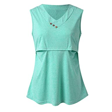 5e02f301fa6 Amazon.com: Toponly Womens V Neck Sleeveless Nursing Tank Tops Summer Solid  Button Maternity Breastfeeding Shirts: Clothing