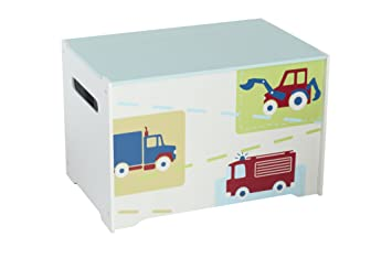 Vehicles Kids Toy Box - Childrens Bedroom Storage Chest with Bench ...