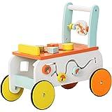 Labebe New Design Baby Walker with Wheel, 3-in-1 Orange Wooden Activity Walker for Baby 1-3 Years, Baby Push Walker Girl…