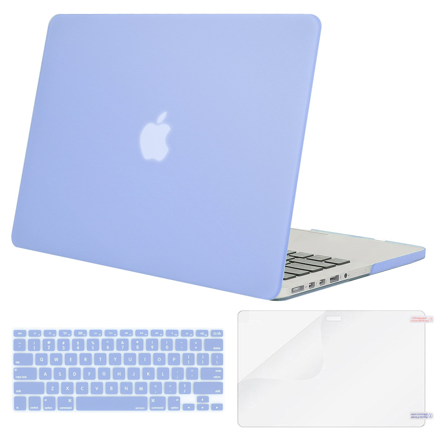 MOSISO Case Only Compatible MacBook Pro (W/O USB-C) Retina 13 Inch (A1502/A1425)(W/O CD-ROM) Release 2015/2014/2013/end 2012 Plastic Hard Shell & Keyboard Cover & Screen Protector, Serenity Blue